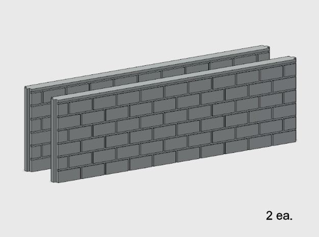 5' Block Wall - 2-Long Jointed Wall Splices in White Natural Versatile Plastic: 1:87 - HO