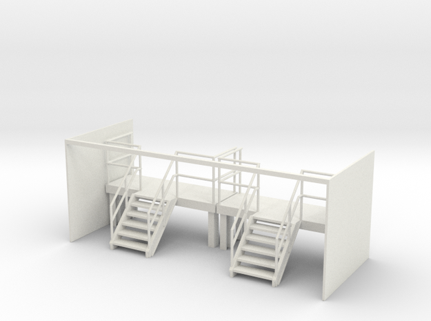 Factory Stairs in O - Wide - 2 sets in White Natural Versatile Plastic