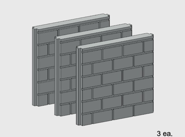 5' Block Wall - 3-Short Jointed Splices in White Natural Versatile Plastic: 1:87 - HO