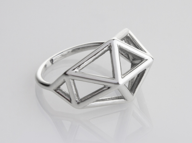 Ring - Latyce in Fine Detail Polished Silver: 6 / 51.5