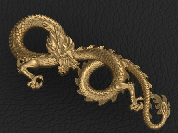 Dragon pendant in Fine Detail Polished Silver