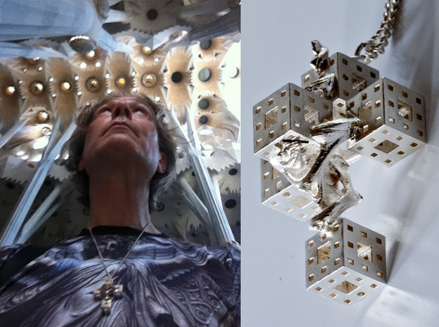 Crucifixum Fractalum Mathematicae - Argentum Unum 3d printed Now blessed by Gaudìs genious inside the central nave of Sagrada Famillia.