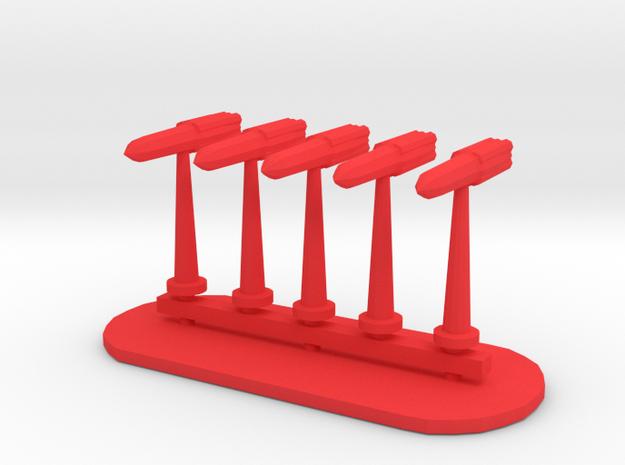 Rockets Sprue - Variant 4 in Red Processed Versatile Plastic