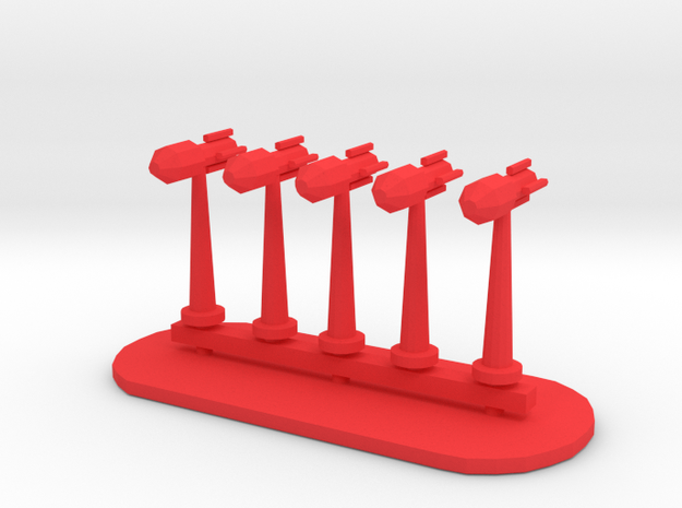 Rockets Sprue - Variant 3 in Red Processed Versatile Plastic