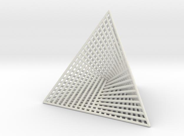 Ribbed Hemicube Tetrahedron V 2.0 in White Natural Versatile Plastic