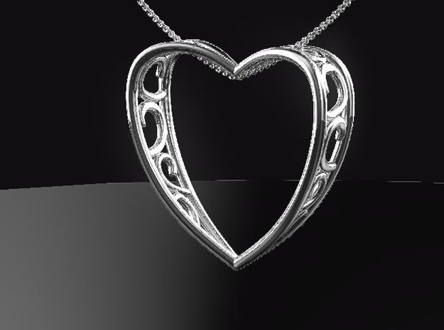 ArabesqueHeart in Fine Detail Polished Silver