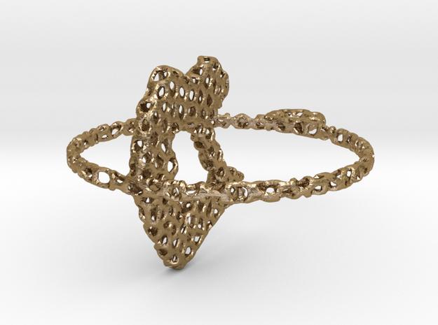 voronoi yoga pendant/earring in Polished Gold Steel