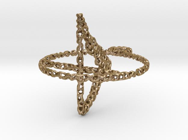 voronoi yoga earring pendant - downward facing dog in Polished Gold Steel