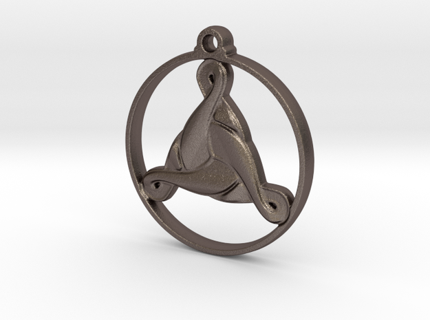 Triskelion Pendant in Polished Bronzed-Silver Steel