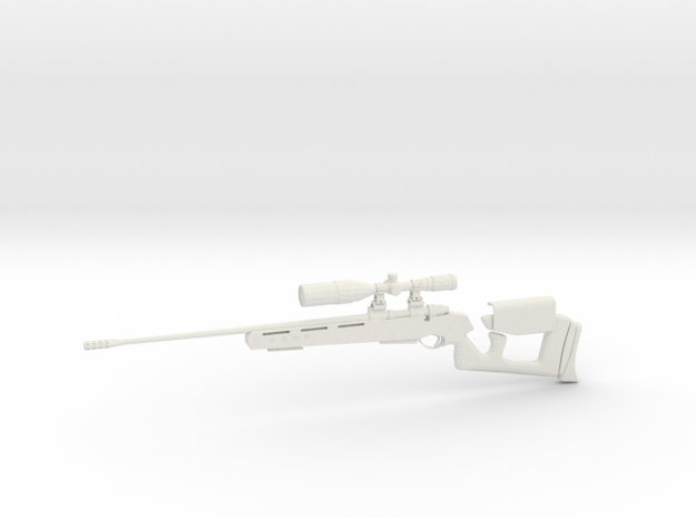 1:12 Miniature GOL Magnum Sniper Rifle - Battlefie in White Natural Versatile Plastic: 1:12