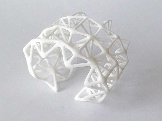 Origami_flame_Bangle in White Natural Versatile Plastic