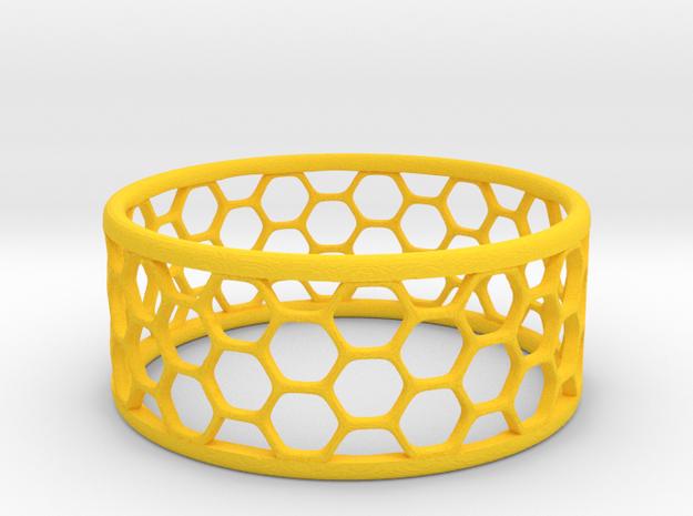 Hexagonal Ring in Yellow Processed Versatile Plastic: 1.75 / -
