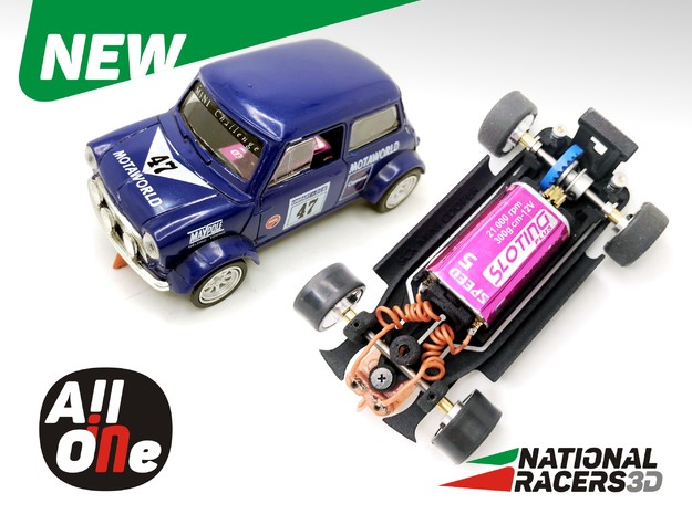 3D Chassis for Scalextric MlNl CPR (Inline-AiO) in Black Natural Versatile Plastic