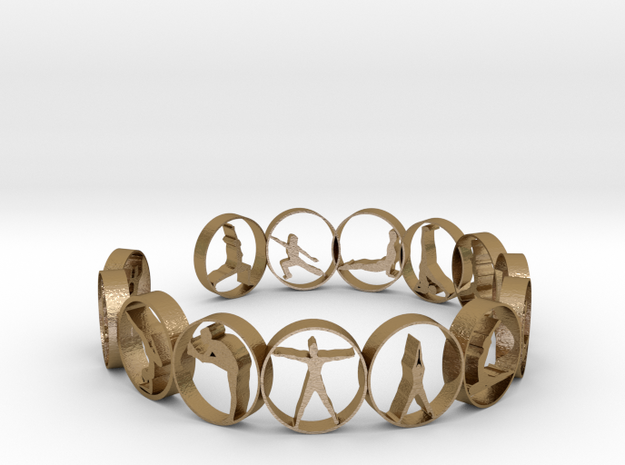 Yoga bangle with 14 poses 63.7 mm in Polished Gold Steel
