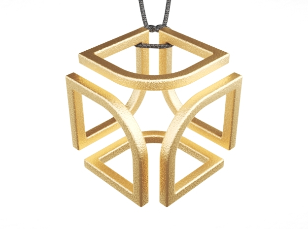 Cube Pendant Type B in Polished Gold Steel: Small