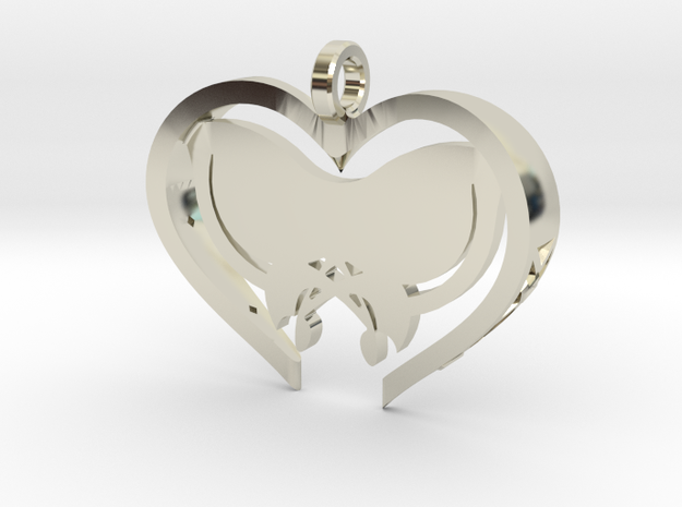 Custom Butterfly Heart in 14k White Gold