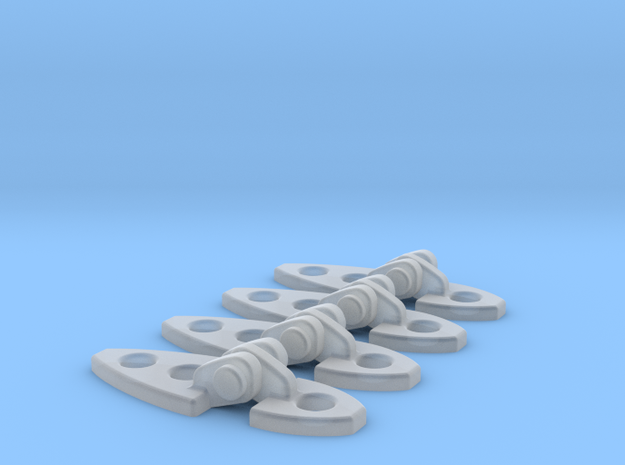 FUNCTIONAL BELL HINGES X4 in Smooth Fine Detail Plastic
