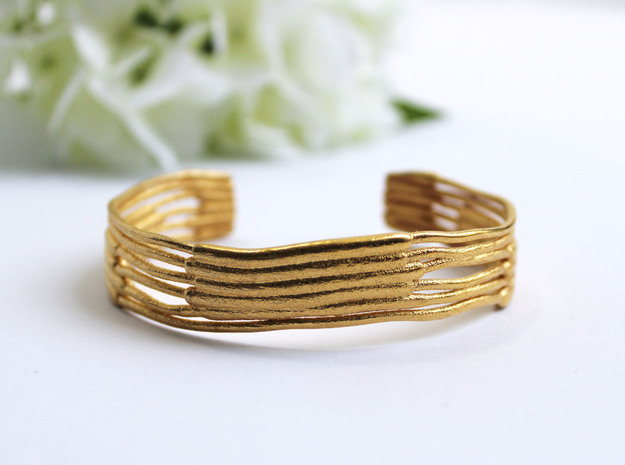 Chloroplast Thylakoid Cuff Bracelet in Polished Gold Steel: Small