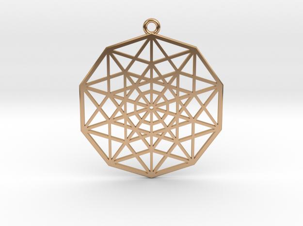 5D Hypercube in Polished Bronze