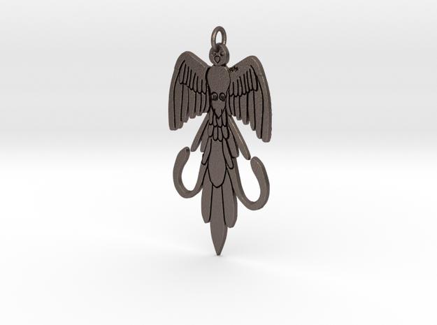 Guatemala quetzal keychain  in Polished Bronzed-Silver Steel: Medium
