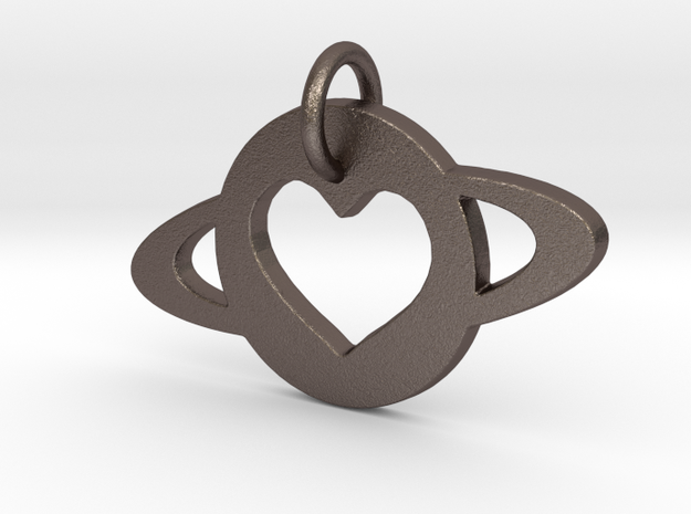 TCR i love you planets Pendant in Polished Bronzed-Silver Steel: Small