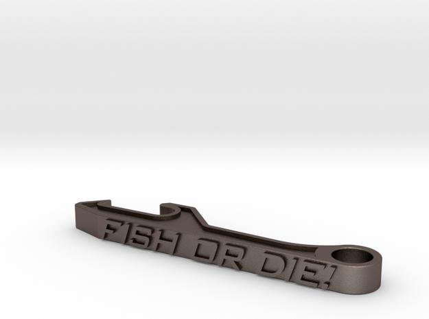 Fish Or Die Bottle Opener in Polished Bronzed-Silver Steel