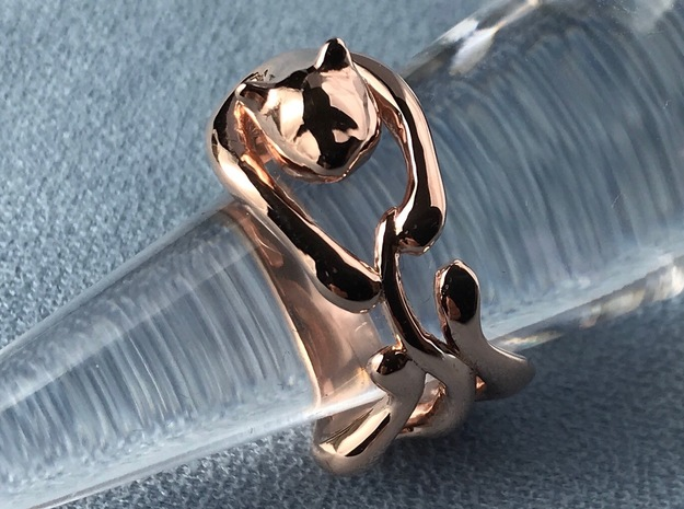catRing_B in 14k Rose Gold Plated Brass
