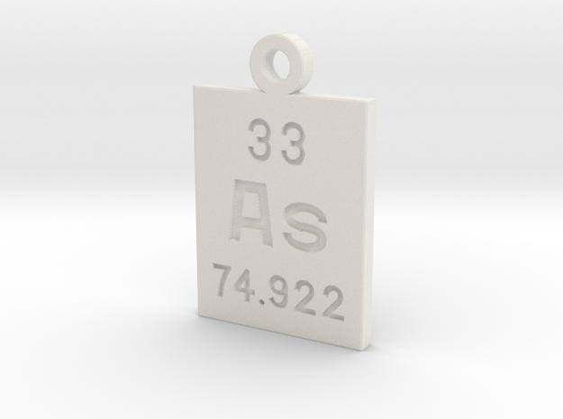 As Periodic Pendant in White Natural Versatile Plastic