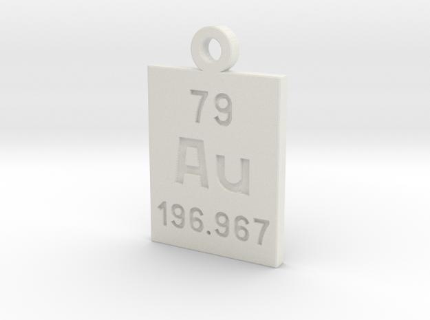 Au Periodic Pendant in White Natural Versatile Plastic