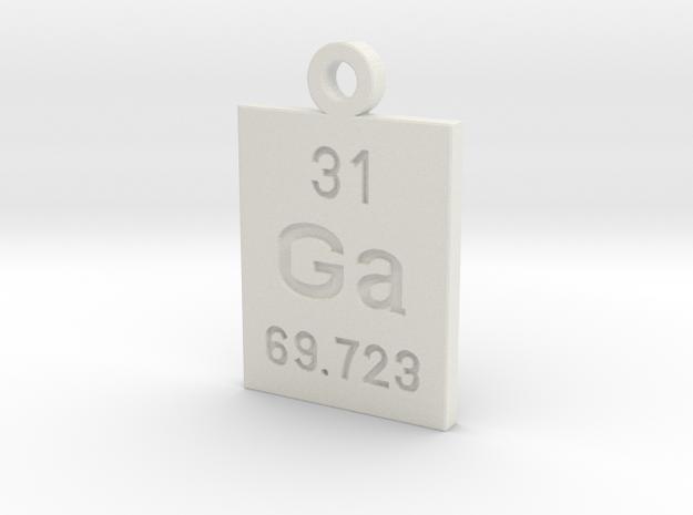 Ga Periodic Pendant in White Natural Versatile Plastic