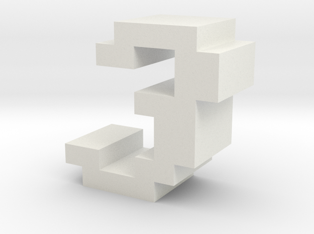 """3"" inch size NES style pixel art font block in White Natural Versatile Plastic"