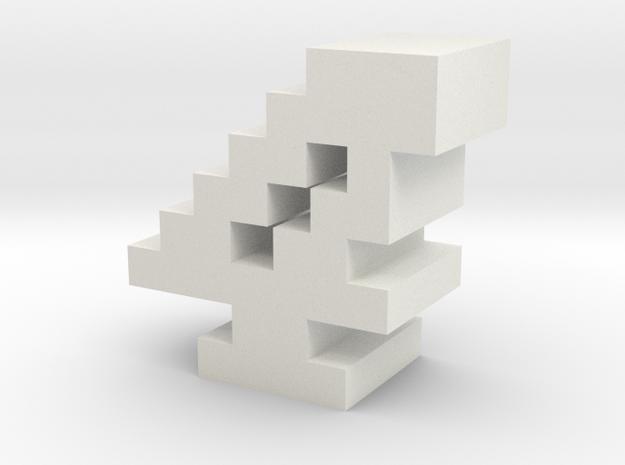 """4"" inch size NES style pixel art font block in White Natural Versatile Plastic"