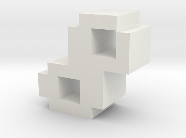 """8"" inch size NES style pixel art font block in White Natural Versatile Plastic"