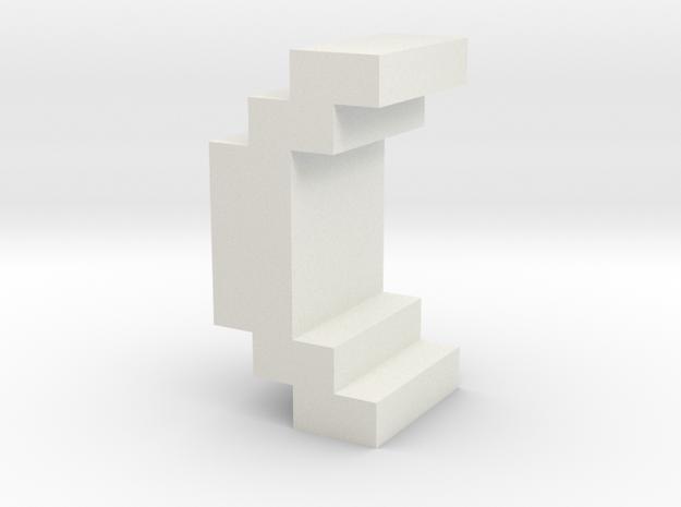 """()"" inch size NES style pixel art font block in White Natural Versatile Plastic"