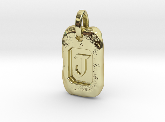 Old Gold Nugget Pendant J in 18k Gold Plated Brass