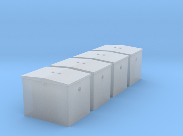 S - GN Railway - Battery Box - Qty. 4 in Smooth Fine Detail Plastic: 1:64 - S