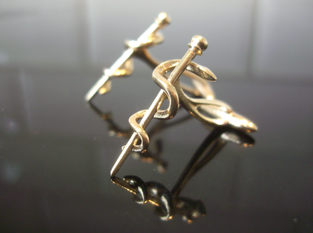 Snake rod cufflinks (medicine) in Natural Brass