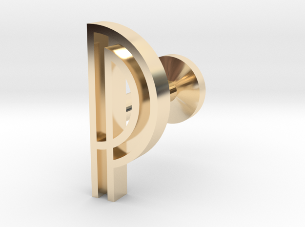 Letter P in 14k Gold Plated Brass