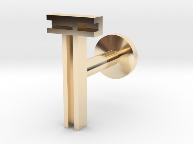 Letter T in 14k Gold Plated Brass