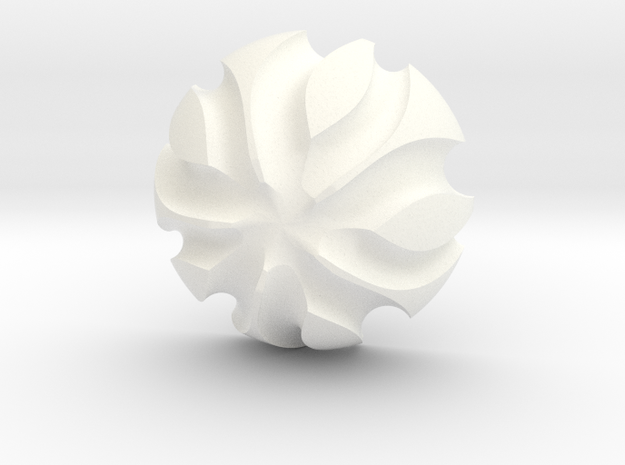3K Collection - Flower Ring (Top) in White Processed Versatile Plastic