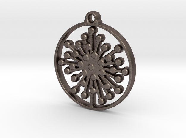 Floral Pendant V in Polished Bronzed-Silver Steel
