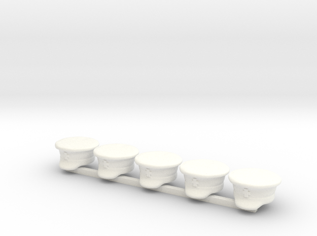 5 x Russian Napoleonic Peaked Hat in White Processed Versatile Plastic