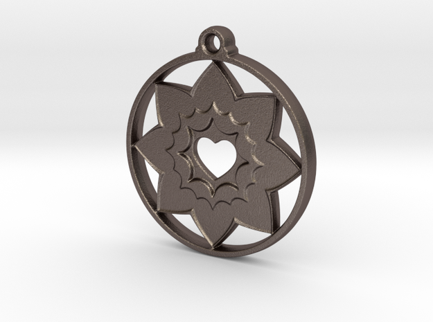 Heart In Love in Polished Bronzed-Silver Steel