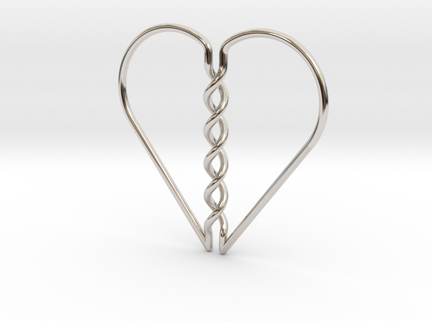 Tangled Heart Pendant (No Holes) in Rhodium Plated Brass