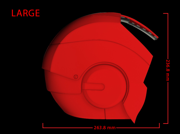 Iron Man Helmet - Head Right Side (Large) 1 of 4 3d printed CG Render (Side measurements, Head Right with Head Left)