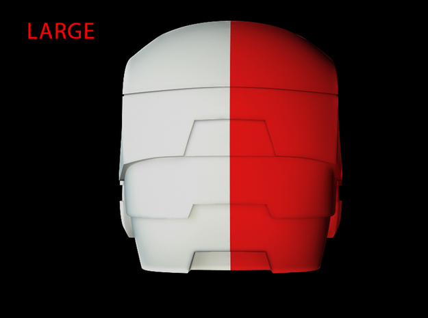 Iron Man Helmet - Head Right Side (Large) 1 of 4 3d printed CG Render (Back, Head Right with Head Left)