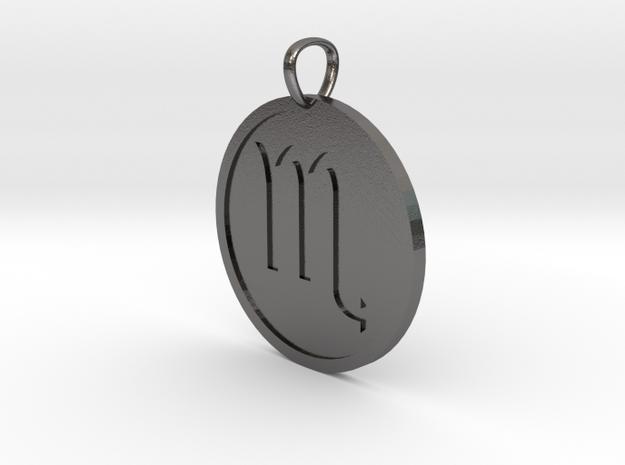 Scorpio Medallion in Polished Nickel Steel