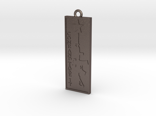 Come and take it Pendant in Polished Bronzed-Silver Steel