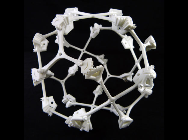 Geared Cuboctahedral Jitterbug in White Processed Versatile Plastic