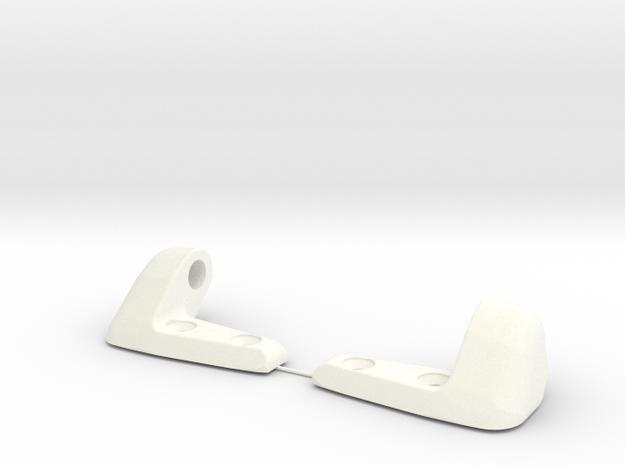 Porsche sunvisor clips -65 -66 -67 round axel in White Processed Versatile Plastic